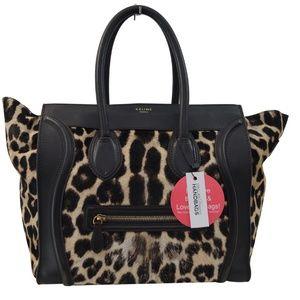 Celine Brown Ponyhair Leopard Print Luggage Tote
